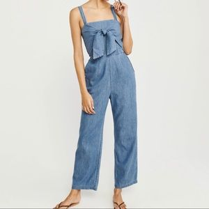 Abercrombie & Fitch Blue Jumpsuit with Tie Front